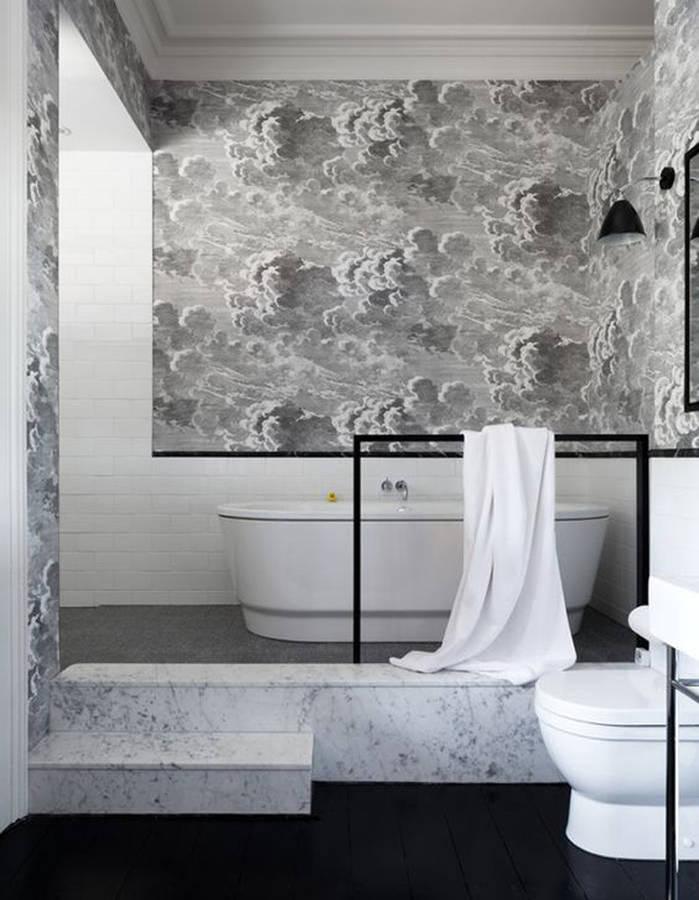 Papier peint salle d'eau