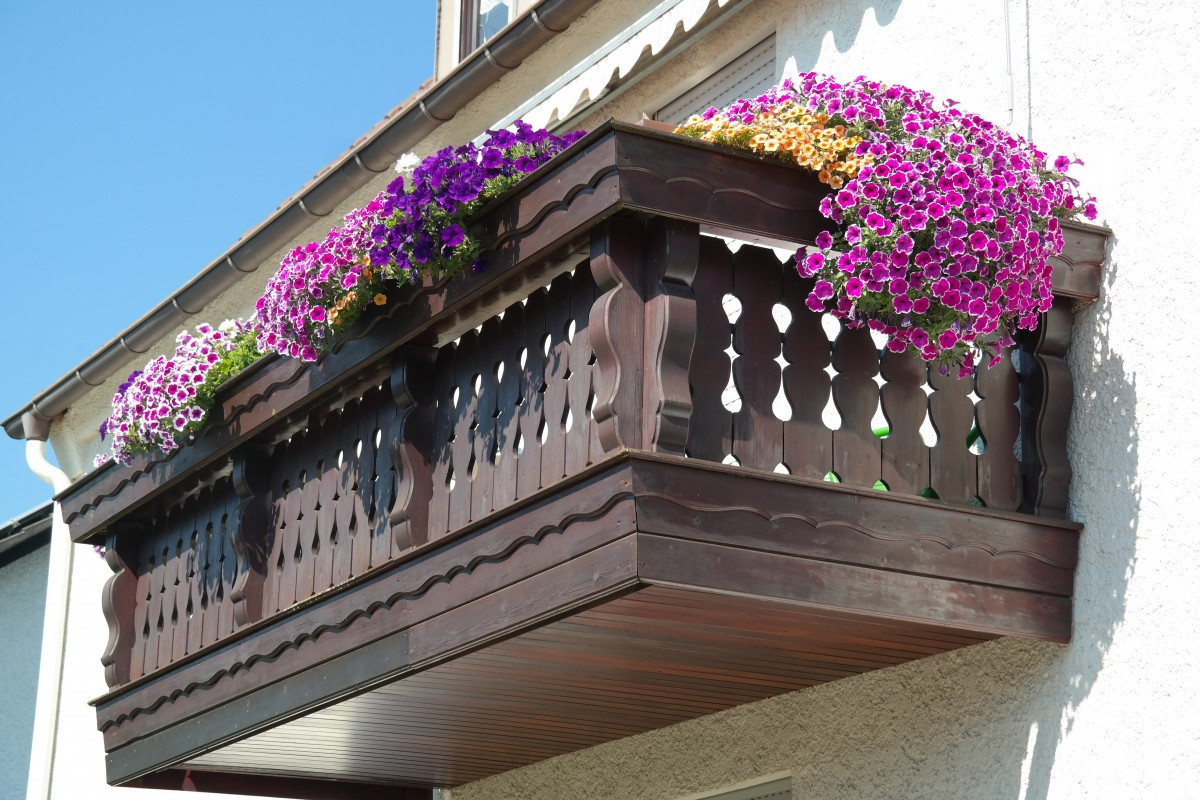 balcon décoré de fleurs