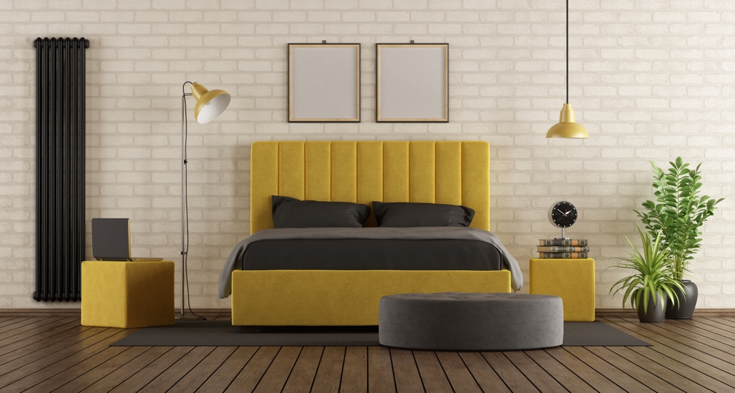 tête de lit en velours jaune moutarde